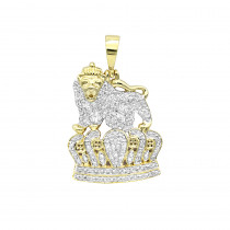Real 10k Gold Diamond Lion Pendant with Crown 0.3ct