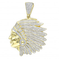 Real 10k Gold Indian Chief Head Pendant for Men with Genuine Diamonds 1.2ct