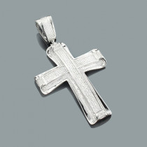 Real Hip Hop Jewelry: Large Silver Diamond Cross Pendant 1.66ct