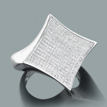 Real Hip Hop Jewelry: Mens Silver Diamond Ring 0.53ct