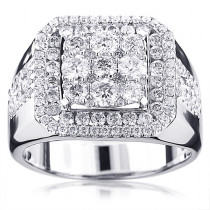 Real Hip Hop Jewelry: Square Mens Diamond Ring 3ct 14K Gold