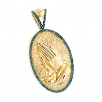 Religious Jewelry: 10K Gold Blue Diamond Praying Hands Pendant 0.36ct