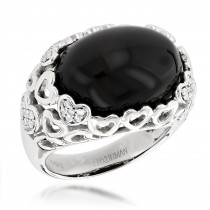 Right Hand Diamond Fashion Rings: Luxurman Onyx  and Hearts Ring 14K Gold