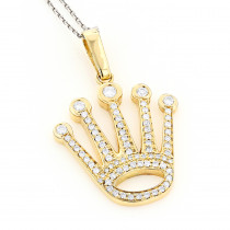 Rolex Crown Diamond Charm 1.2ct White or Yellow Gold Diamond Pendant