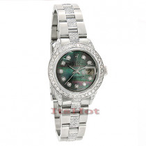 Pre-owned Rolex Datejust Custom Diamond Watch for Ladies 8.50ct