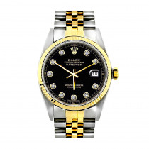 Rolex Datejust Mens Diamond Watch Oyser Perpetual Stainless Steel &18K Gold