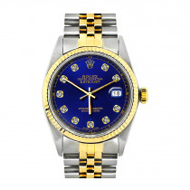 Rolex Datejust Mens Diamond Watch Stainless Steel & 18K Gold Blue Dial 36mm