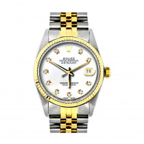 Rolex Datejust Mens Diamond Watch Stainless Steel &18K Gold
