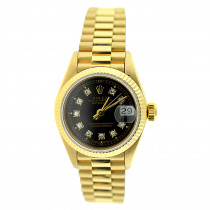 Rolex Presidential Datejust 18K Yellow Gold Womens Diamond Watch 0.1ct