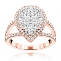 Rose Gold Jewelry: Pear Shaped Diamond Ring for Women 1.55ct 14K