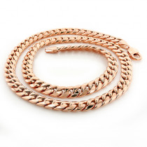Rose Gold Miami Cuban Link Curb Chain 10K 22-40in 9mm