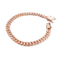 Rose Gold Miami Cuban Link Curb Chain Bracelet 14K 9.5mm 7.5-9in