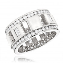 Round and Baguette Diamond Eternity Ring By Luxurman New York 2.65ct