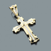 Round Baguette Diamond Cross Pendant 0.62ct 10K Gold