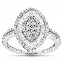 Round Baguette Ladies Diamond Ring 1.25ct 14K