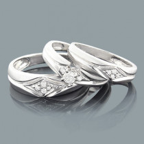 Round Diamond Trio Ring Set 0.37ct 14K Gold