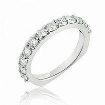 Thin Round Diamond Wedding Band 1.10ct 14K Flat Bottom Rings