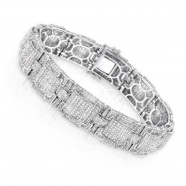 Round Pave Diamond Bracelet for Men 6.28ct 10K Gold