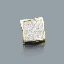Round Pave Diamond Earring for Men 0.30ct 14K Gold