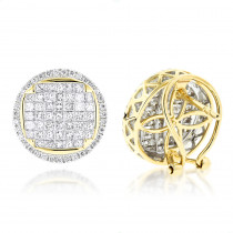 Round Princess Cut Diamond Stud Earrings 2.5ct 14K Gold