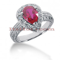 Ruby Engagement Ring With Diamonds 14K 0.42ctd 2ctr
