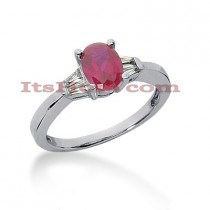 Ultra Thin Ruby Engagement Rings: 14K Gold Diamond Ring 0.28ctd 1ctr