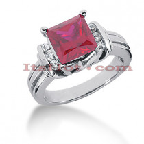 Ruby Engagement Rings: Gemstone Diamond Ring 14K 0.18ctd 2.25ctr