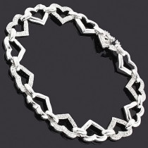 Silver Diamond Heart Bracelet 0.85ct