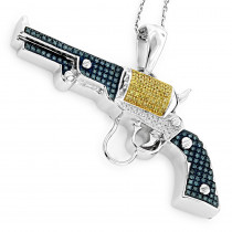 Silver White Blue Yellow Diamond Revolver Pendant .95ct