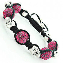 Skull Bead Berry Color Disco Ball Bracelet with Crystals