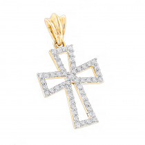 Small 14K Gold Diamond Cross Pendant  for Women 0.2ct