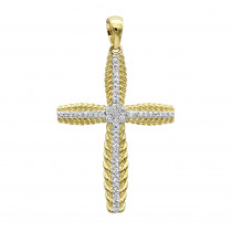 Small 14k Gold Designer Womens Diamond Cross Pendant 0.25ct by Luxurman