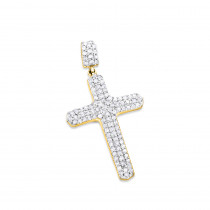 Small 14K Gold Diamond Cross Pendant Necklace 0.40ct