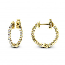 Small 14K Gold Inside Out Diamond Hoop Earrings 0.9ct