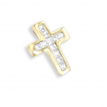 Small 14K Gold Princess Diamond Cross Pendant 0.17ct
