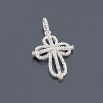 Small Diamond Cross Pendant 0.27ct 14K