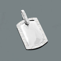 Small Diamond Dog Tag Pendant in Sterling Silver 0.6ct