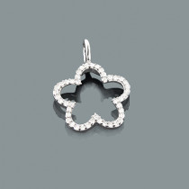 Small Diamond Flower Pendant 0.17ct 10K Gold Charm