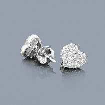 Small Diamond Heart Earrings Studs 0.24ct 14K