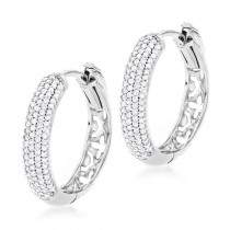 Small Diamond Hoop Earrings 0.5ct 14K Gold