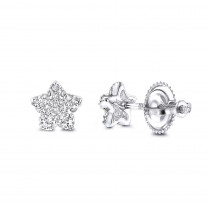 Small Diamond Star Earrings Studs 0.11ct 14K Gold