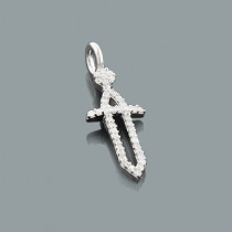 Small Diamond Sword Pendant in 10K Gold 0.17ct Charm