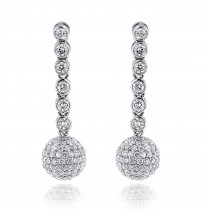 Small Golden Globes Diamond Dangle Earrings 2.50ct