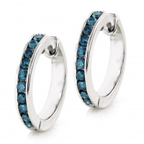 Small Hoop Blue Diamond Earrings 0.55ct 14K Gold Huggies