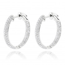 Small Inside Out Diamond Hoop Earrings 1.16ct 14K Gold