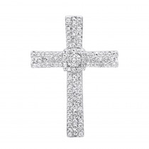 Small Iced Out Diamond Cross Pendant for Women & Men 14k Gold 0.4ct