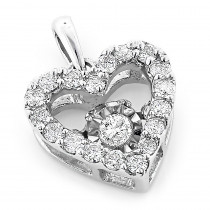 Small Ladies Diamond Heart Necklace 0.36ct Dancing Diamond Pendant