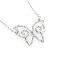 Small Ladies Diamond Pendants: 14K Gold Butterfly Necklace 0.18ct