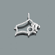 Small Taurus Pendant with Diamonds 0.15ct 10K Gold Charm