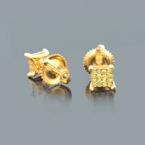Small Yellow Diamond Stud Earrings 0.20ct Sterling Silver
